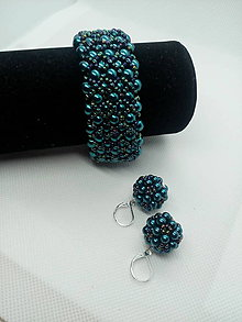 Sady šperkov - Petrolejový náramok a náušnice - 9909926_