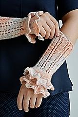 Rukavice - Pletené nátepníčky - flamingo melír - 9909607_