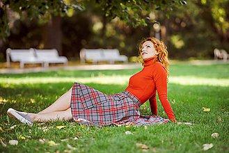 Sukne - asymetrická zavinovacia sukňa (sivo-červené káro) - 9908979_