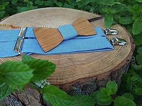 Doplnky - Pánsky set - drevený motýlik a traky - 9907646_