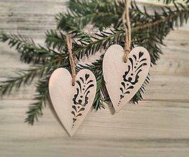 Dekorácie - Vianočné ozdoby Srdiečka - 9907935_