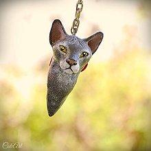 Kľúčenky - Sphynx - kľúčenka podľa fotografie mačky - 9907843_