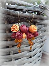 Náušnice - Ružičkové vábenie - jesenná harmónia - 9907929_