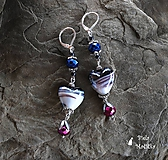 Sklenené srdcia - náušnice - modrá, bordová, striebro