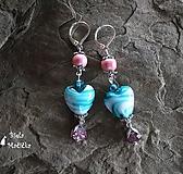 Tyrkysové sklenené srdcia s ružovou - náušnice, striebro