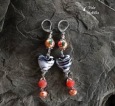 Náušnice - Sklenené srdcia s prírodnými kamienkami agát, orange - náušnice, striebro - 9909541_
