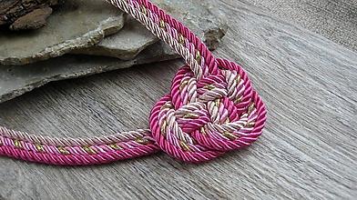 Náhrdelníky - Uzlový náhrdelník hrubý z troch šnúr 5mm (ružový č. 2365) - 9909496_