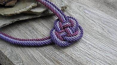 Náhrdelníky - Uzlový náhrdelník hrubý z troch šnúr 5mm (fialový č. 2366) - 9909523_