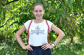 Tričká - Maľované tričko s ľudovým vzorom - 9909741_