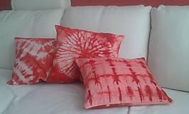 Úžitkový textil - Červený batikovaný vankúš - 9910161_