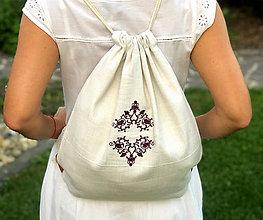 Batohy - Ľanový batoh s výšivkou a s koženými pútkami (Šedá) - 9910034_
