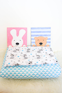Textil - SeT... Paplónik a vankúšik... medvedík a trojuholníky - 9911248_