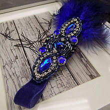 Ozdoby do vlasov - Great Gatsby Blue ... čelenka - 9911467_