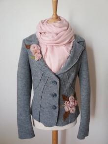 Kabáty - vlnené romantické sako - recyklácia - 9912298_