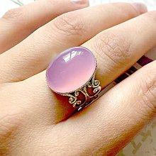 Prstene - Antique Silver Romantic Pink Violet Chalcedony Ring / Prsteň s fialovo ružovým chalcedónom v starostr. prevedení /0026 - 9910872_