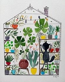 Obrazy - Mačka v skleníku  ilustrácia / originál maľba - 9911520_