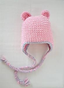 Detské čiapky - Čiapočka mäkúška- ružový macko - 9913182_