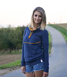 Mikiny - Modrá mikina s velkou kapucí - 9911511_
