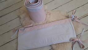 Textil - Zástena okolo postieľky 360x25 : sivá/ružová - 9911733_