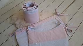 Textil - Zástena okolo postieľky 360x25 : sivá/ružová - 9911735_