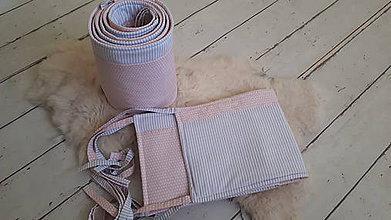Textil - Zástena okolo postieľky 360x25 : sivá/ružová - 9911734_
