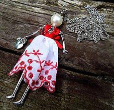 """Náhrdelníky - Náhrdelník """"Slečna v červeno-bielom"""" - 9910693_"""
