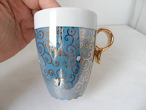 Nádoby - modrá s ornamentom a zlatým uškom - 9912807_
