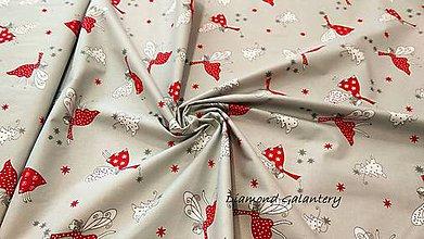 Textil - Bavlnená látka - Vianočné víly - cena za 10 cm - 9913528_