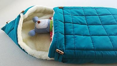 Textil - RUNO SHOP fusak pre deti do kočíka 100% ovčie runo MERINO TOP super wash ELEGANT Petrol Green petrolejový - 9913434_