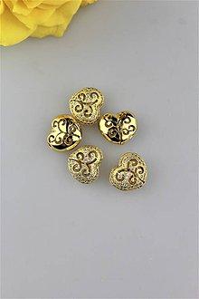 Komponenty - srdce zlaté ozdobné - 9911879_
