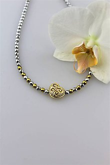 """Náhrdelníky - hematit """"srdce"""" náhrdelník - 9911919_"""