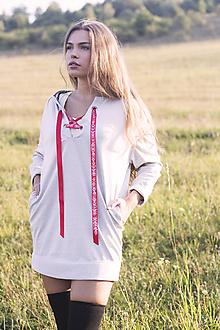 Mikiny - Mikinové šaty s folk viazačkou - 9911252_