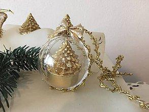 Dekorácie - Vianočná guľa II rezervované  (zlatá) - 9912015_