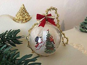 Dekorácie - Vianočná guľa II rezervované  (zeleno - červená) - 9912039_