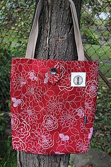Nákupné tašky - Taška - Velké květy na vínové - 9911801_