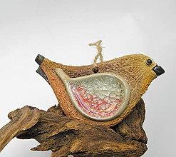 Dekorácie - keramický vtáčik - závesná dekorácia - 9912462_
