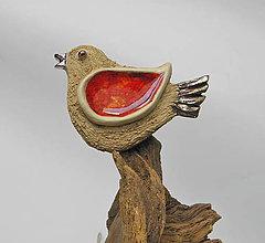 Dekorácie - keramický vtáčik na zavesenie - 9912477_