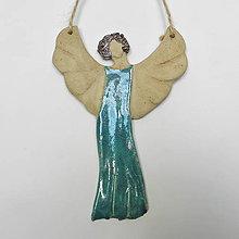 Dekorácie - Keramický anjel na stenu - malý - 9912520_