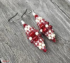 Náušnice - Luxusné červeno-béžové náušnice