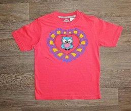 Detské oblečenie - Detské maľované tričko sovička srdiečko - 9910714_
