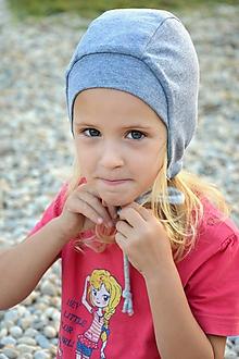 Detské čiapky - Obojstranný čepček sivá svetlá & mentol tyrkis - 9913699_