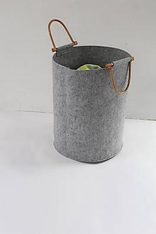 Košíky - Koš filcový, drevené úchytky - 9910972_
