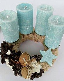 Svietidlá a sviečky - adventné sviečky tyrkysové - 9913670_