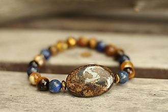 Náramky - Náramok z minerálu bronzit, lapis, achát, tigrie oko - 9910999_
