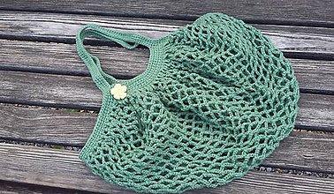 Nákupné tašky - Háčkovaná sieťovka (Zelená) - 9911232_