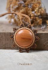 Náhrdelníky - Pletený drevený náhrdelník •Ranné zore• - 9912646_
