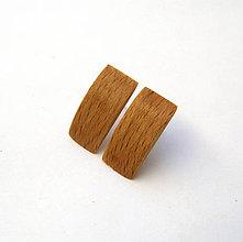 Náušnice - Bukové vypuklé obdĺžničky - 9912170_