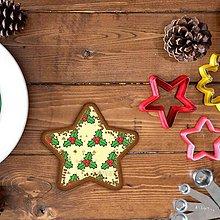 Grafika - Vianočné grafické perníky so vzorom - hviezdička (imelo) - 9912324_