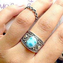 Prstene - Double Larimar Antique Silver Knuckle & Finger Ring / Sada 2 starostrieborných prsteňov s larimarom /0024 - 9914522_