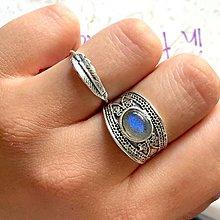 Prstene - Double Labradorite Antique Silver Knuckle & Finger Ring / Sada 2 starostrieborných prsteňov s labradoritom /0023 - 9914891_